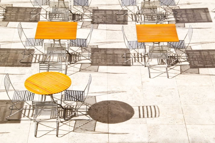 Tables on Travertine 2, Getty Museum, Los Angeles, photo by John Ecker, pantheon photography